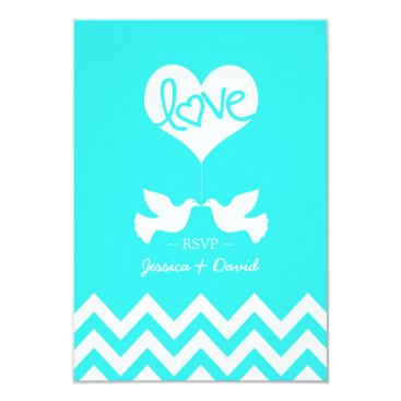 Love Doves Mint Blue with Chevron Card