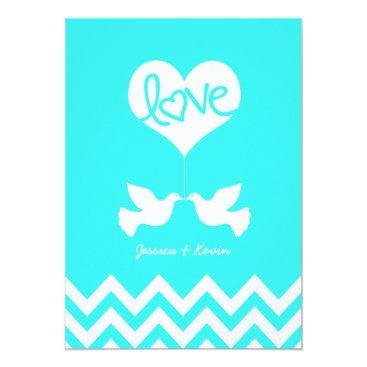 Love Doves Mint Blue with Chevron Invitation