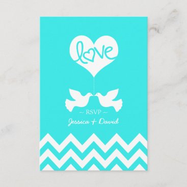 Love Doves Mint Blue with Chevron RSVP Card