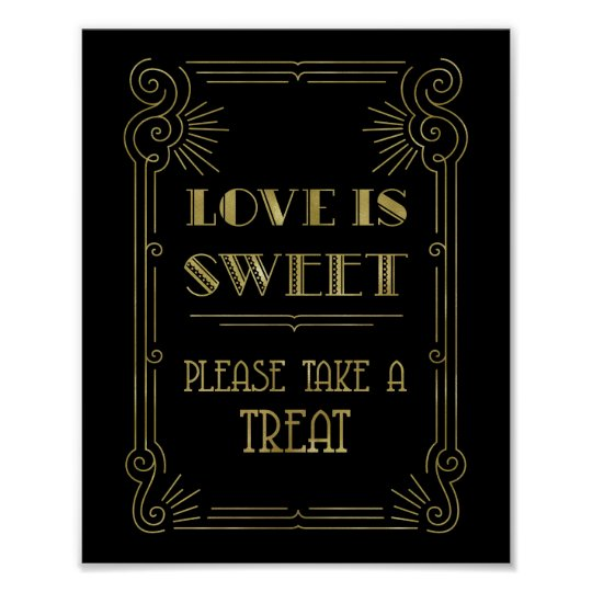 Download Love is Sweet Candy Bar Wedding Gold Black 1920s Poster ...