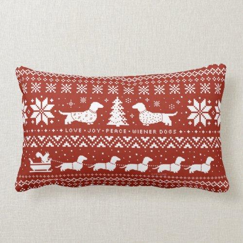 Love Joy Peace Wiener Dogs Christmas Pattern Lumbar Pillow