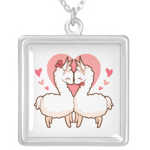 Love Llamas Silver Plated Necklace
