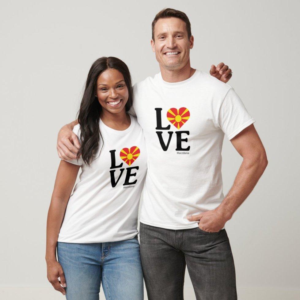 Love Macedonia Couple T-Shirt - Cute Couple Outfits National Flag