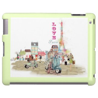 Love Paris collage sketch iPad and iPad mini covers