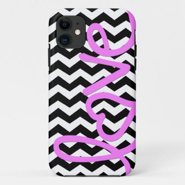 Love Pink on Black and White Chevron iPhone 11 Case