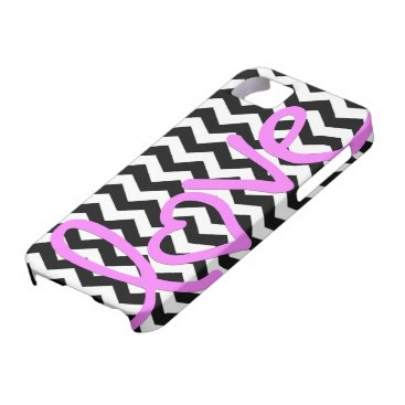 Love Pink on Black and White Chevron iPhone SE/5/5s Case
