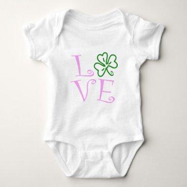 Love Shamrock - Pink and Green Baby Bodysuit