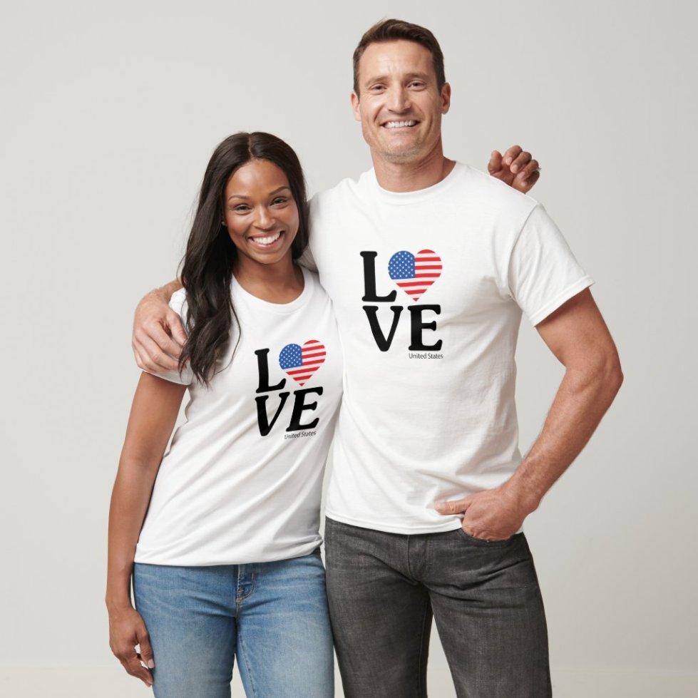 Love United States - USA Couple T-Shirt