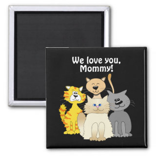 Love You Cat Mom Lots of Cute Cartoon Cats Black Magnet