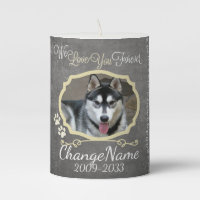 Love You Forever Dog Memorial Keepsake Pillar Candle