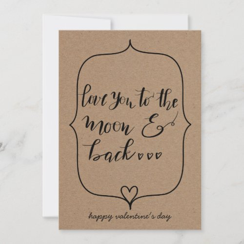 Love You To The Moon And Back Valentines Day Holiday Card