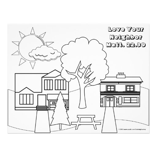 Love Your Neighbor Coloring Page (25 pack 2 sided) Flyer