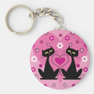 Twin Black Cats Keychain