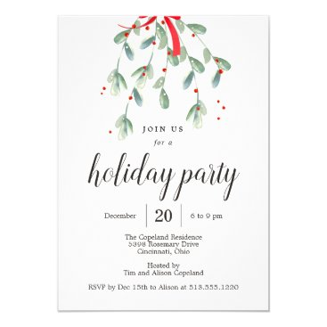 Lovely Mistletoe Christmas Holiday Party Invites