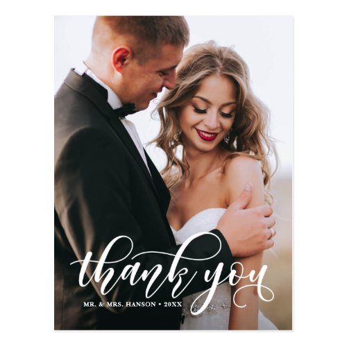 Lovely Modern Calligraphy Wedding Photo Thank You Postcard