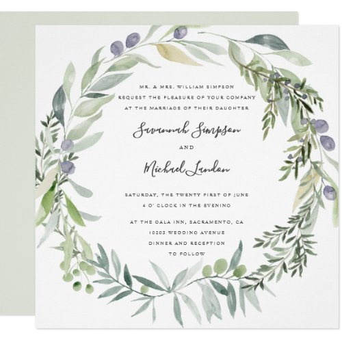 Lovely Olive and leaves formal wedding Invitation
