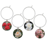 Lovely White, Red, Pink, Blush Roses Wine Charms