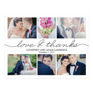 Lovely Writing Wedding Thank You Card White