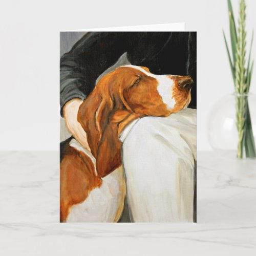 Loving Basset Hound Dog Art Greeting Card