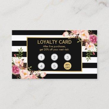 Loyalty Card Vintage Gold Floral Beauty Salon