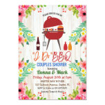 ❤️ Tropical Floral With Cute Grill I Do BBQ Invitation