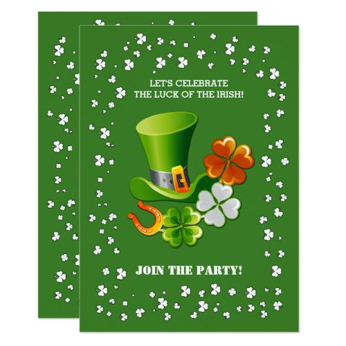 Luck of the Irish. St. Patrick's Day Invitations
