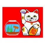 ❤️ Lucky Cat. Unlucky Fish Postcard