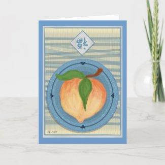 Lucky Chinese Peach New Year Card card