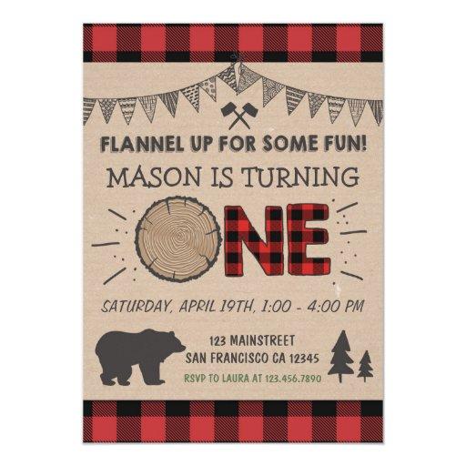 Lumberjack Birthday Invitation Woodland Birthday Zazzle