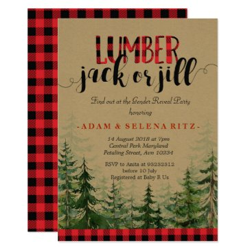 Lumberjack or Jill Gender Reveal Party Invitation