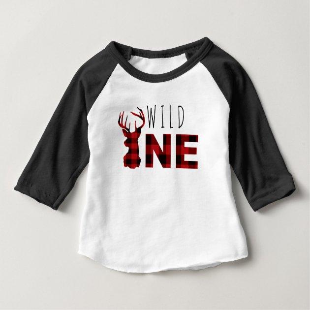 Lumberjack Plaid Wild One First Birthday Baby T Shirt