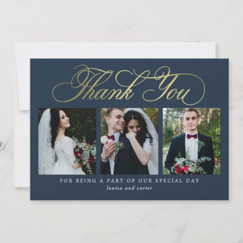 Luxurious Script Wedding Thank You Card Faux Foil