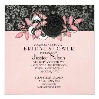 Luxury Floral Damask Butterfly Bridal Shower Invitation