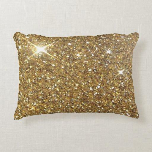Luxury Gold Glitter  Printed Image Decorative Pillow  Zazzle