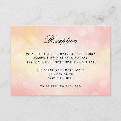 Luxury Pink Bokeh Glitter Light WEDDING RECEPTION Enclosure Card