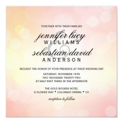 Luxury Pink Bokeh Light Chic Wedding Invitation