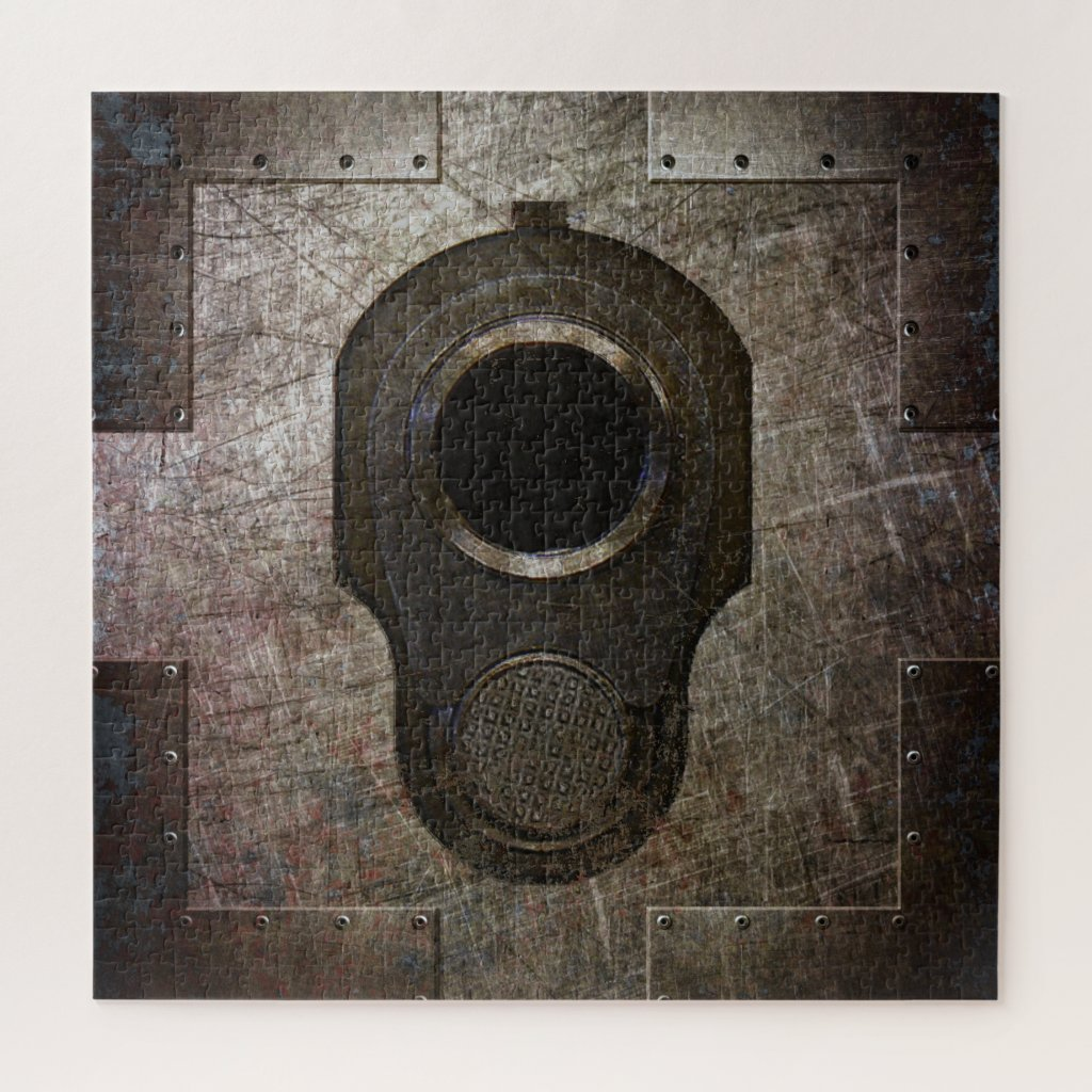 M1911 Colt 45 Muzzle on Riveted Steel Plate Jigsaw Puzzle