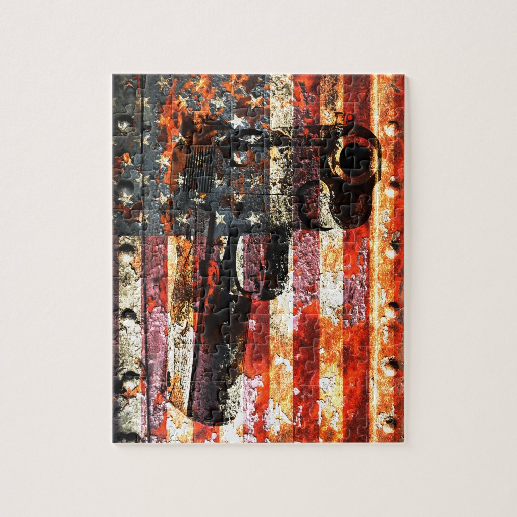 M1911 Silhouette On Rusted American Flag Jigsaw Puzzle