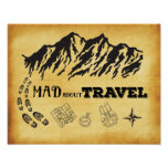 Mad about travel retro vintage style Poster