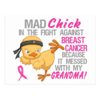 Mad Chick Messed With Grandma 3 Breast Cancer Postcard