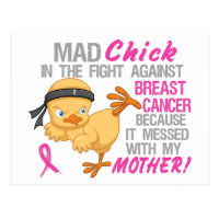 Mad Chick Messed With Mother 3L Breast Cancer Postcard