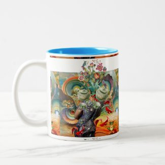 Mad hatters tea party collage mug