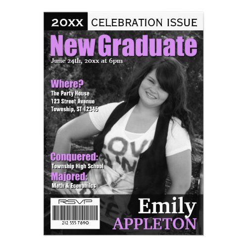 Magazine Cover Purple Graduation Invitations