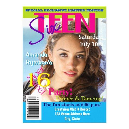 Magazine Cover Style Sweet Sixteen Invitation