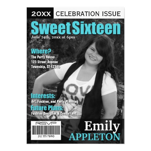 Magazine Cover Turquoise Sweet Sixteen Invitations