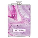 Magenta Marbled Paint Pour Art Personalized Flask Zazzle Com
