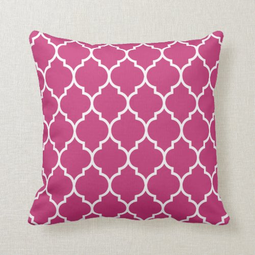 Magenta Pink Quatrefoil Pattern Throw Pillow