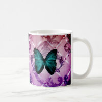Magenta Purple Swirls Bohemian Teal Butterfly Coffee Mug