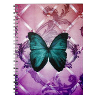 Magenta Purple Swirls Bohemian Teal Butterfly Notebook
