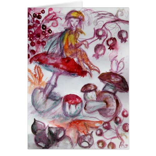 MAGIC FOLLET OF MUSHROOMS Red White Floral Fantasy